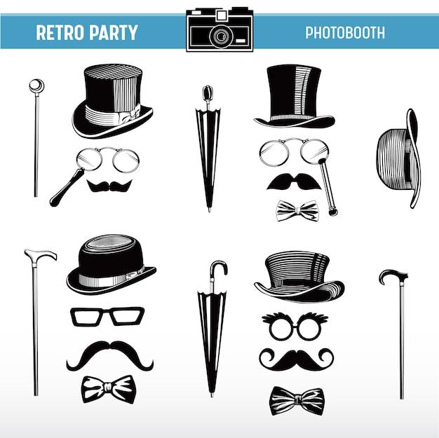 Movember retro party do druku okulary, kapelusze, wąsy, maski do rekwizytów fotobudki w wektorze