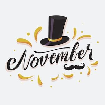 Movember świadomości wąsy tło z napisem