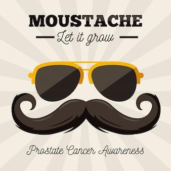 Movember świadomości wąsy w płaskiej konstrukcji z okularami przeciwsłonecznymi