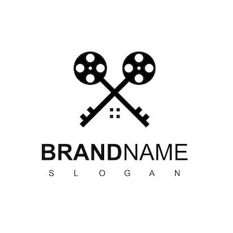Movie house production logo design vector