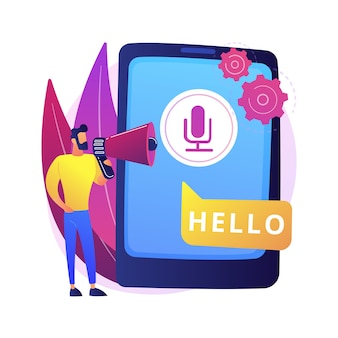 Mowa do tekstu abstrakcyjna ilustracja koncepcja. wielojęzyczny aparat do rozpoznawania mowy, konwersja mowy na tekst, oprogramowanie do zamiany głosu na tekst, technologia rozpoznawania głosu, tłumaczenie.
