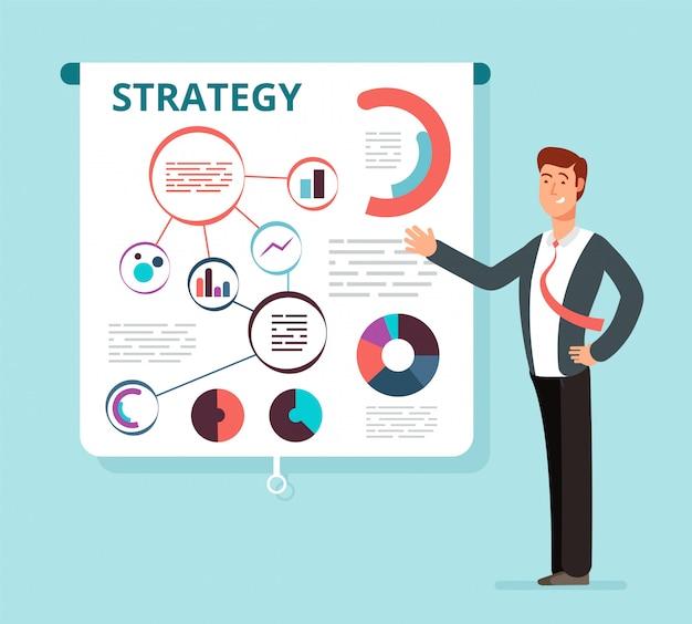 Mówca biznesmen pokazuje udany plan strategii finansowej na ekranie projektora. spotkanie biznesowe, prezentacja, seminarium wektor koncepcja