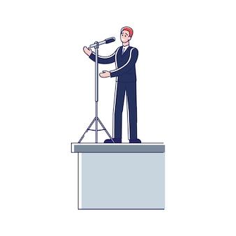 Mówca mówi z trybuny biznes człowiek w mowie garnitur w mikrofonie do publiczności