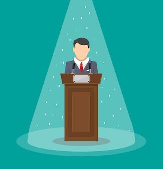 Mówca przemawia z trybuny