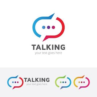 Mówiący szablon wektor logo