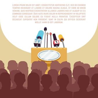 Mównica, trybuna z mikrofonami w świetle reflektorów na sceny ilustraci.