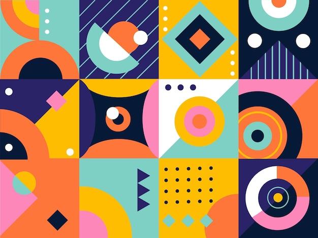 Mozaika płaskich prostych elementów geometrycznych