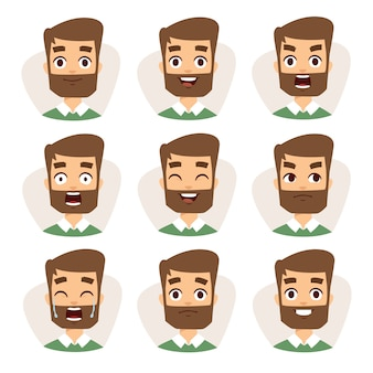 Mozaika postaci twarzy młodego mężczyzny z brodą wyrażającą różne ikony emocji.