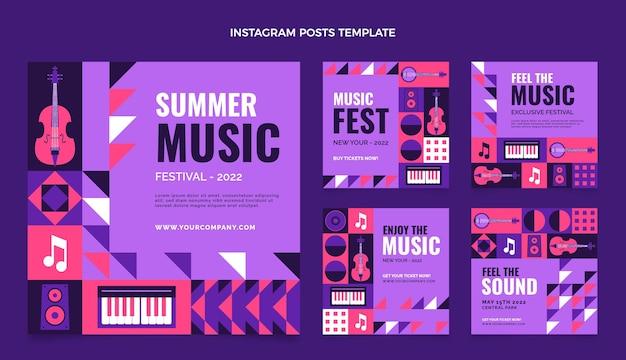 Mozaika w stylu płaskiego festiwalu muzycznego posty na instagramie