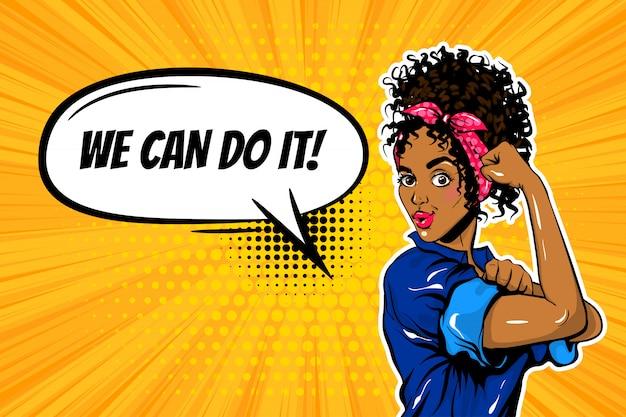 Możemy to zrobić czarna kobieta dziewczyna pop-art moc