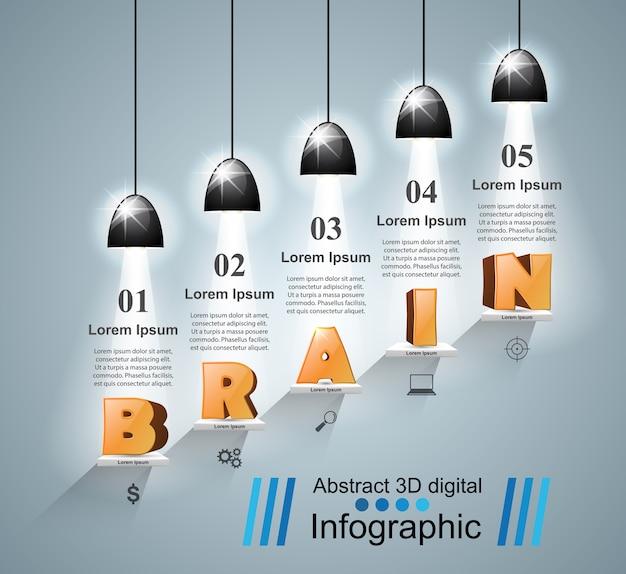 Mózg 3d logo na szarym tle