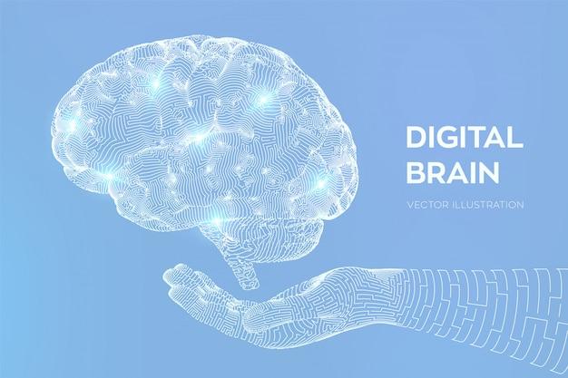 Mózg. cyfrowy mózg w ręku. sieć neuronowa.