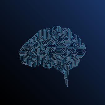 Mózg cyfrowy ze sztuczną inteligencją w ciemnym tle