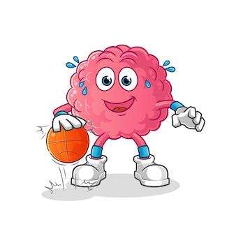 Mózg drybluje postać koszykówki. kreskówka maskotka