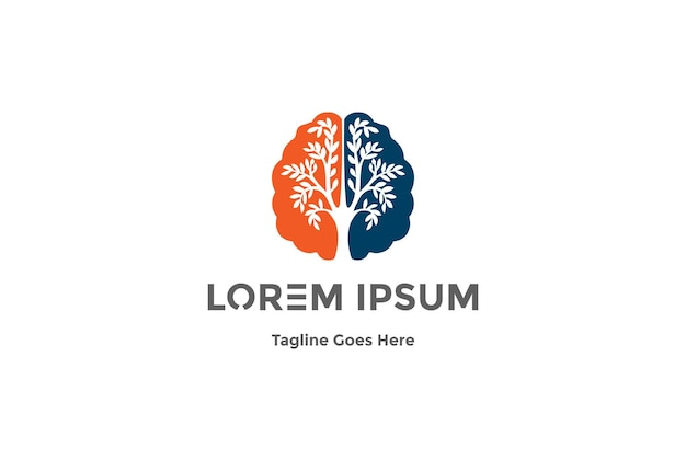 Mózg drzewo kreatywna edukacja natura logo design vector