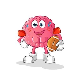 Mózg grający postać rugby. kreskówka maskotka