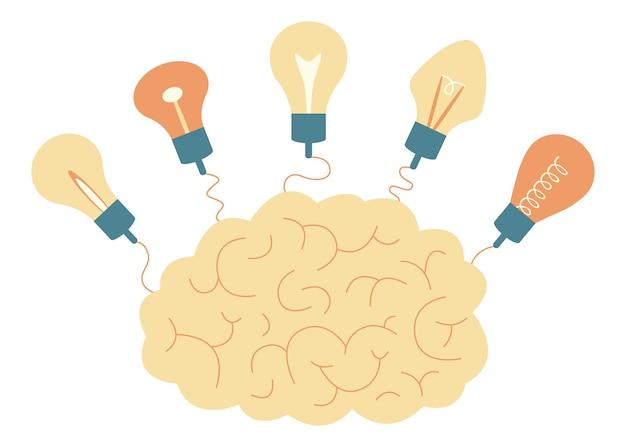 Mózg i połączone żarówki. symbol kreatywności, pomysłu, rozumu, myślenia. ilustracja wektorowa