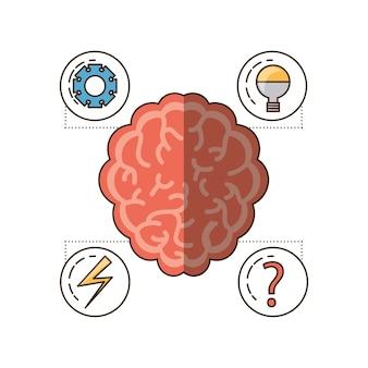 Mózg i zestaw ikon umysłu umysłowego zdrowia i spokojnej