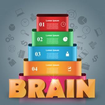 Mózg infographic i biznes ikona.