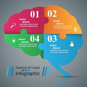 Mózg infographic i biznes ikona