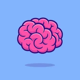 Mózg kreskówka wektor ikona ilustracja. edukacja obiekt ikona koncepcja białym tle premium wektor. płaski styl kreskówki