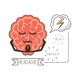 Mózg kreskówki umysł umysłowego zdrowia i spokojnej