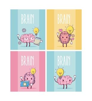 Mózg kreskówki w kolorowe kwadratowe ramki