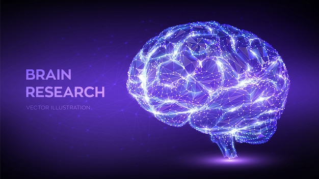 Mózg. low poly streszczenie cyfrowy ludzki mózg. koncepcja technologii nauki sieci neuronowej.