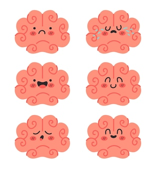 Mózg postacie kreskówka nastrój z różnymi emocjami izolowanymi zestaw