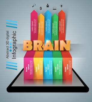 Mózg smartphone plansza i biznes ikona