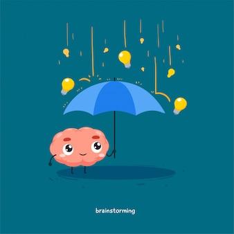 Mózg trzyma parasolkę z deszczem żarówki.