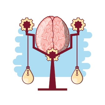 Mózg w skali i światła żarówki wiszące