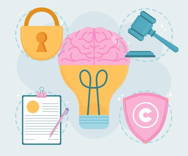 Mózg własności intelektualnej z żarówką
