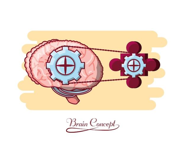Mózg z ikoną koła zębatego i puzzle