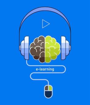 Mózg ze słuchawkami i myszą w płaskiej konstrukcji