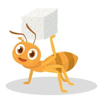 Mrówka przynosi cukier po całym dniu