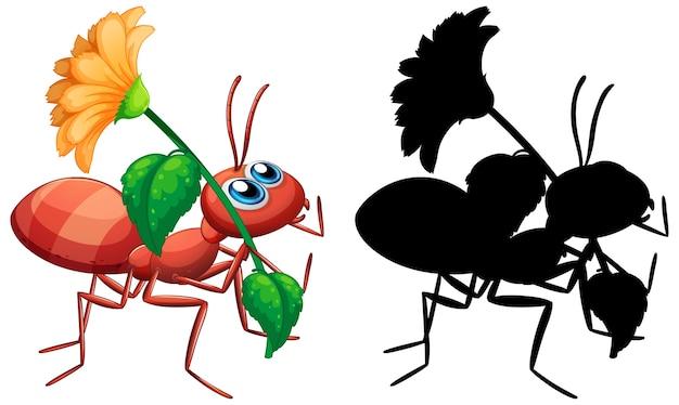 Mrówka trzyma kwiat zestaw