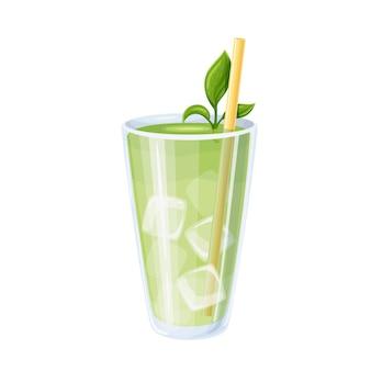 Mrożona matcha lub latte z zielonej herbaty matcha w szklanej ilustracji.