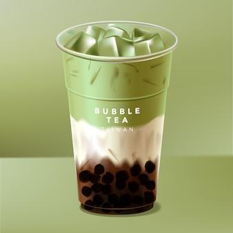 Mrożona tajwan lub japońska herbata bubble, herbata mleczna lub zielona herbata matcha