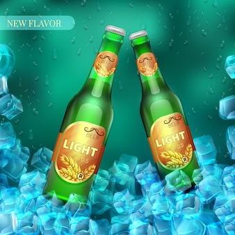 Mrożone lekkie butelki piwa z kostkami lodu. sprzedaż detaliczna produktu wektorowego. ilustracja piwo w zimnym lodzie