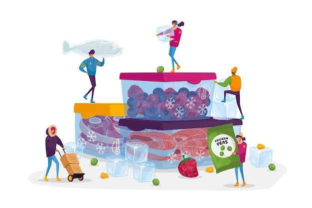 Mrożonki, zdrowe odżywianie, koncepcja ochrony. drobne postacie męskie i żeńskie kupowanie i gotowanie naturalnych produktów mrożonych świeże warzywa, owoce, mięso i ryby. ludzie z kreskówek