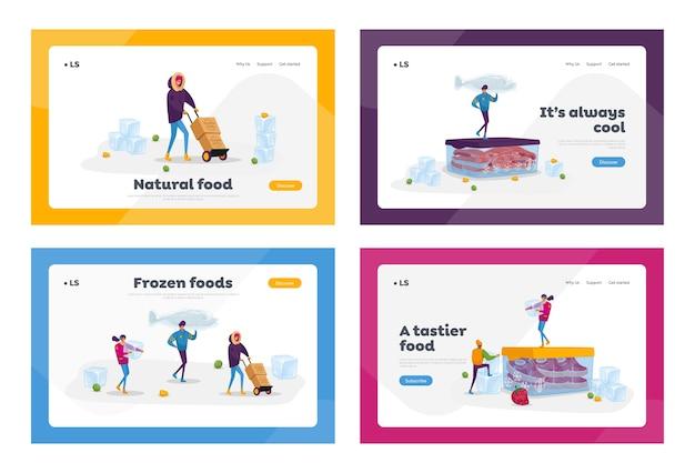 Mrożonki, zestaw szablonów strony docelowej zdrowego odżywiania. drobne postacie płci żeńskiej kupowanie i gotowanie naturalnych produktów mrożonych świeże warzywa, owoce, mięso i ryby. ludzie z kreskówek