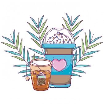 Mrożony kubek kawy i herbata