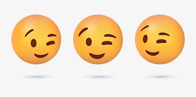 Mrugająca twarz emoji dla reakcji w mediach społecznościowych