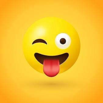 Mrugająca twarz z emoji z języka