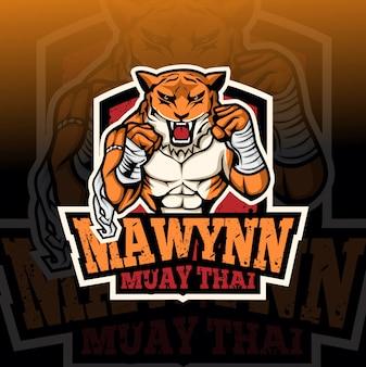 Muay thai tiger maskotka logo esport