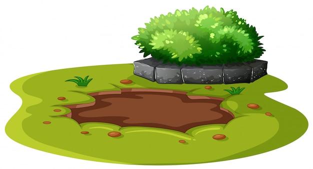 Mud staw w ogrodzie