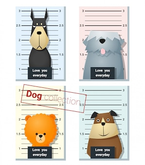 Mugshot słodkie psy trzymając transparent