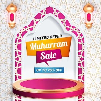 Muharram sprzedaż szablon transparentu 3d social media ulotka z luksusowym podium