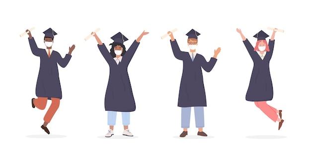 Multi ethnic uczniowie płci męskiej i żeńskiej noszący maskę medyczną